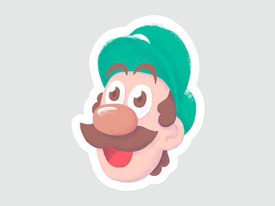 Player 2 sibling brother 8bit retro illustration design character sticker nintendo bros mario luigi