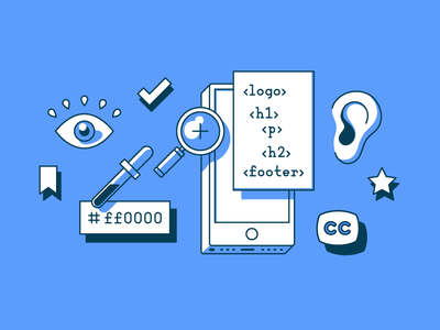 Accessibility editorial illustration ux ui zoom magnifying glass ff0000 aid hearing accessible illustration design