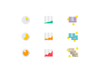 Investment icons yen dollar pound ios illustration design icon app finances money bank currency