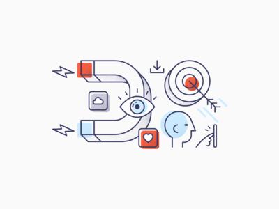 Jampp illustration style line work grain identity design illustration mobile target engagement acquisition user online marketing