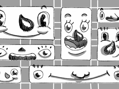 Happy responsiveness smile cartoon faces illustration character css frontend design layout grid flexbox
