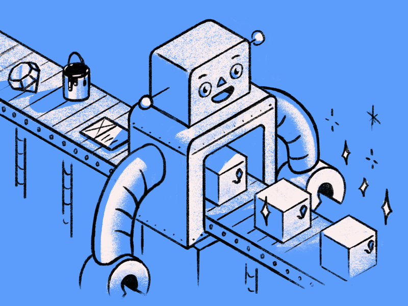 Deployment robot industrial editorial illustration character illustration design product ux ui sketch machine factory robot