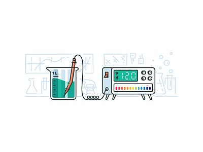 Ph Simulator design app illustration meter learning education chemistry tester ph ui science