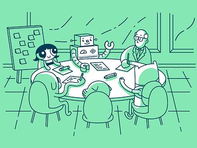 Such meetup! illustration design character product thinking business robot buttercup powerpuff girls adventure time jake finn cartoon network