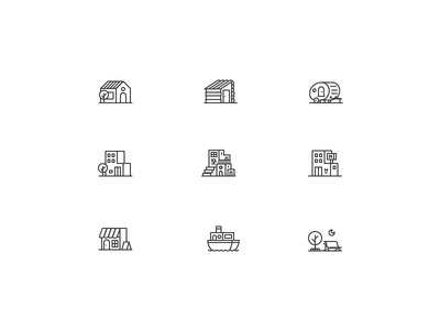 Living spaces icons pixel perfect store street census trailer hotel apartment house home illustration design icon