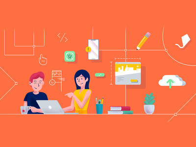 Design process working agency mobile collaborative teamwork process hands on making illustration character design ux ui