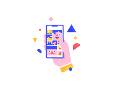 Photo Gallery design character illustration user memories pictures share private data photos app phone