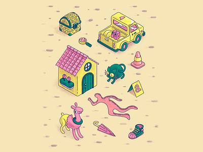 Crimescene scene character illustration design isometric house cat alpaca silhouette mystery treasure truck