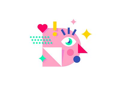 Design Inspiration palette color pink sparkles awe face inspiration invision blog art character design illustration