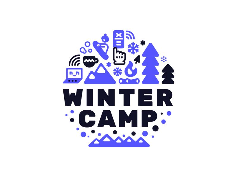 Wintercamp snowflake mountains camp fire course workshop ui ux snowboard snow winter logo badge design illustration