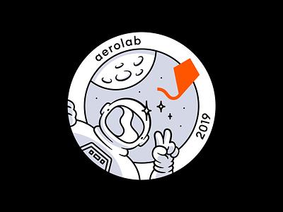 2019 branding vector art design character illustration sketch 2019 kite astronaut nasa space program moon space badge iron-on patch