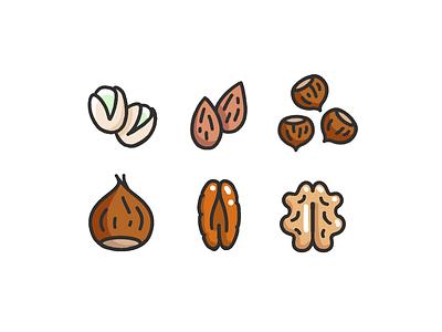 Dried fruits editorial procreate hazelnut pistachio chestnut almonds pecan nuts fruits dried illustration design icon