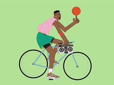 Scottie Pippen riding a bike chicago vector illustration nike nba bulls 90s the last dance bike pippen scottie