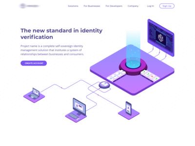 The main page of identity verification ecosystem data identification computer vision machine learning illustration isometric blockchain verification identity