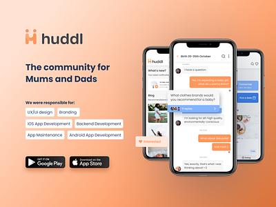 Huddl app for parents design uiux product design development mobile app ux ui design