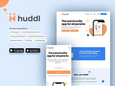 Huddl landing page branding graphic design ui