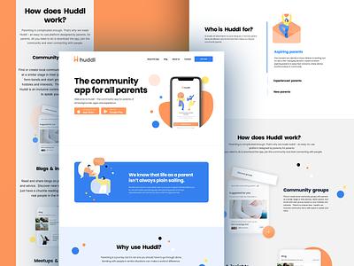 Huddl landing page illustration development design product design mobile app branding logo ux ui