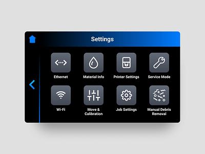 Touch UI dark mode dark ui touch screen app design 3d printing 3d printer ui ux design