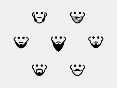 Beard Styles sideburns stubble van dyke goatee mustache hipster beard glyph icons