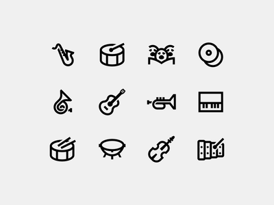 Music xylophone timpani cymbals piano french horn guitar violin choir drum saxophone line icons windows icons
