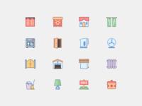 Household Icons in Office Stye