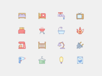 Household Icons in Office Style 2