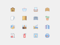 Household Icons in Office Style 3