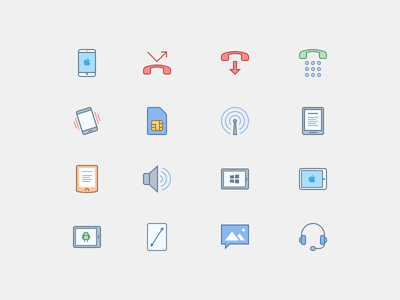 Mobile Icons in Office Style mms number pad headset nook kindle tablet smartphone android tablet ipad iphone flat icons office icons
