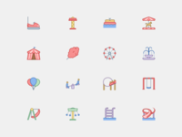 Amusement Park Icons in Office Style