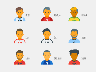 World Cup 2018 flat icons world cup football soccer messi ronaldo celebrity