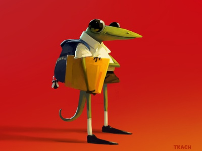 gecko schoolboy tkach art illustration character
