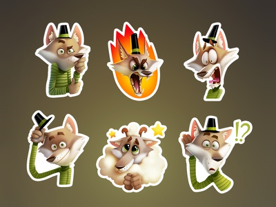 Wolfy stickers character art wolf stickers