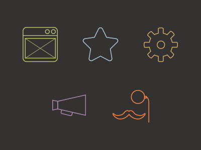 Icons for our services icon wireframe design development marketing consulting