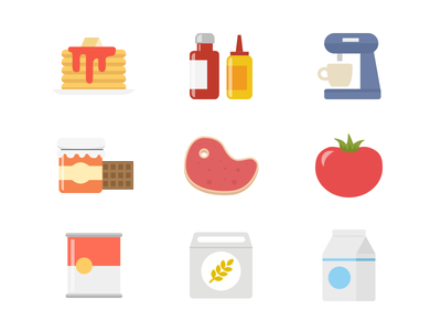 Food icons icons food cake sauce coffee jam meat tomato canned grocery milk nutnet