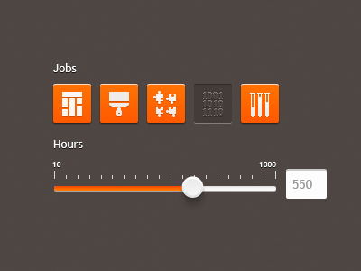 """Jobs and hours for """"Evelop"""" form icons slider"""