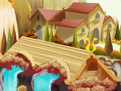 Rivendel shire hobbit art illustrator photoshop animation illustration
