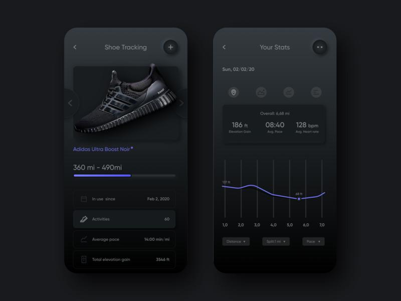 Run Tracker Dark Mode shoes mobile app sketch neumorphism tracker running app dark ui dark mode design skeuomorphism skeumorphic