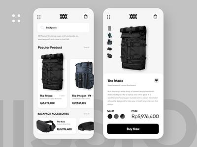 Mission Workshop Concept uiux clean ui sketchapp ecommerce mobile app branding ui shop bag website design