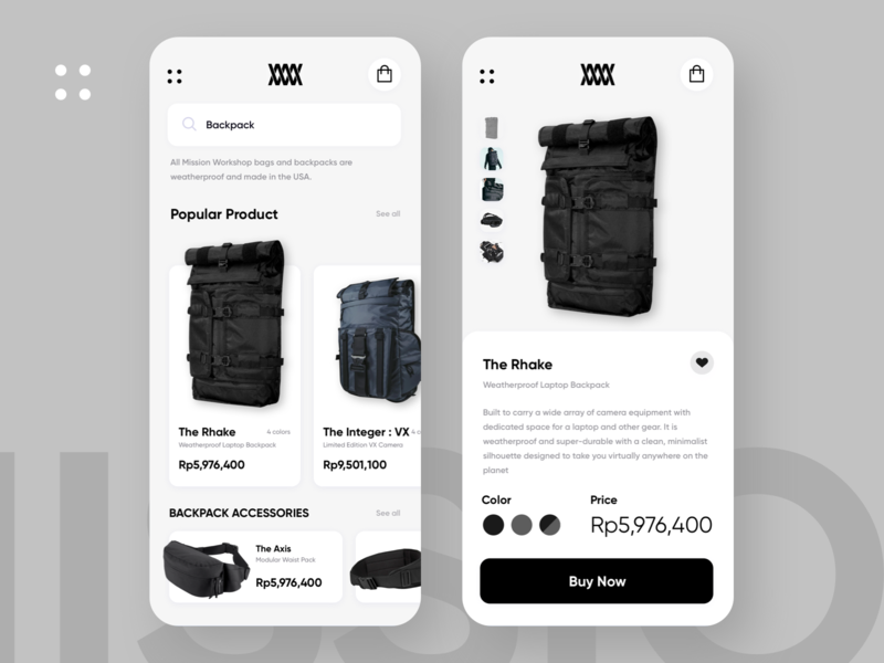 Mission Workshop Concept uiux clean ui sketchapp ecommerce mobile app branding ui shop bag website design