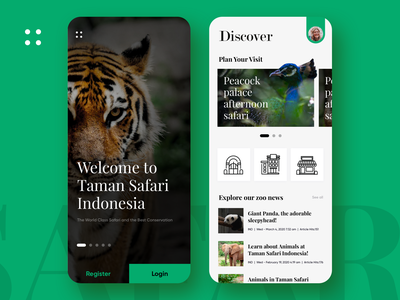 Taman Safari Concept brand identity ecommerce app clean uiux branding service animal park zoo mobile ui design