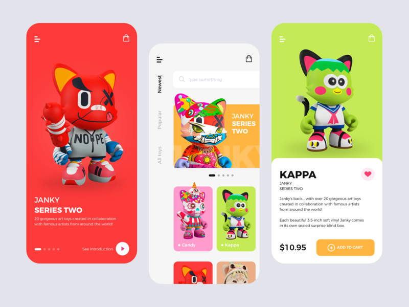 Janky Toys Shop minimalism service design shop uiux toys clean app ui branding mobile ecommerce