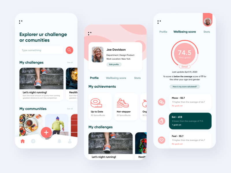 Health and Wellness app ecommerce challenge meet community minimalism uiux service clean mobile app healthy design ui