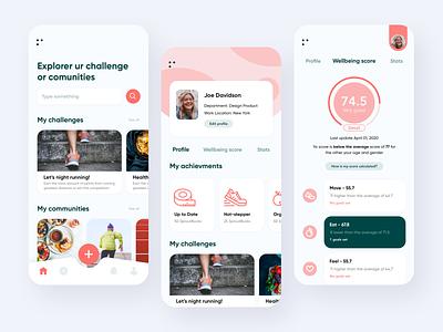 Health and Wellness app ecommerce challenge meet community minimalism uiux service clean mobile app healthy design ui