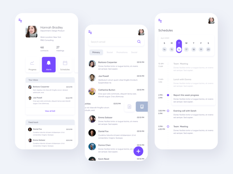 Work Management app mobile update email progress schedule team work app management uiux ui design
