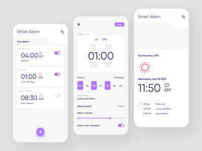 Smart Alarm app time app minimalism clean service reminder clock smart alarm uiux ui mobile design