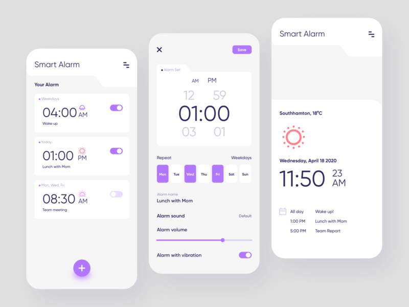 Smart Alarm app time app minimalism clean service reminder clock smart alarm uiux ui mobile design