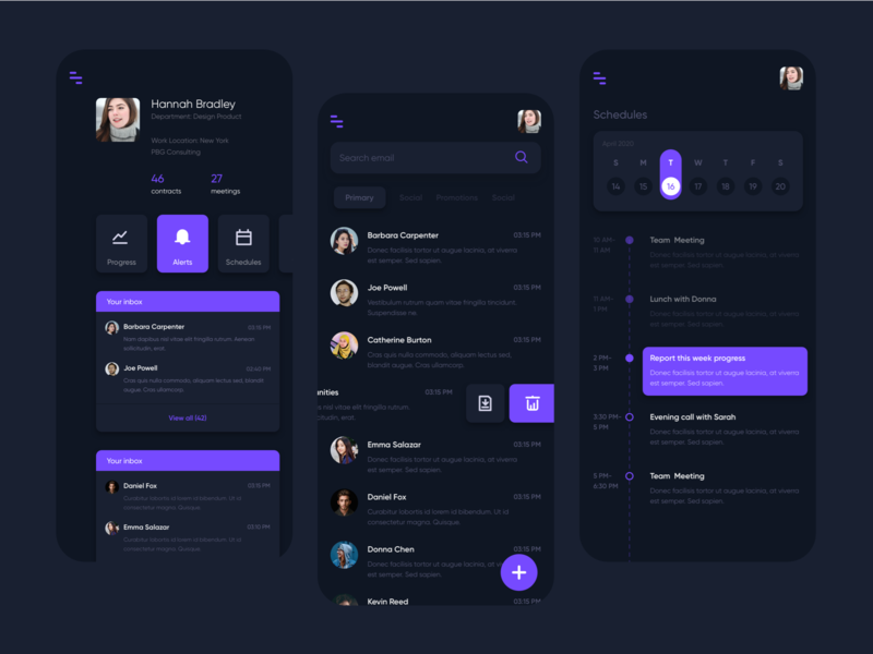 Work Management app | Dark Mode progress schedule work management teamwork email update uiux app ui design mobile
