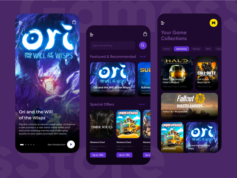Games Store gamer clean dark mode mobile app play service store games uiux ui design