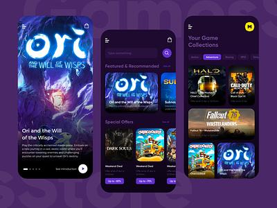 Games Store gamer clean dark mode mobile app play service store games uiux ui design