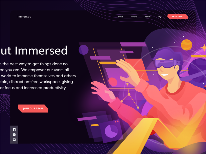 Immersed Illustration v.01 ux branding vector virtual reality vr hero image design ui homepage website service illustration